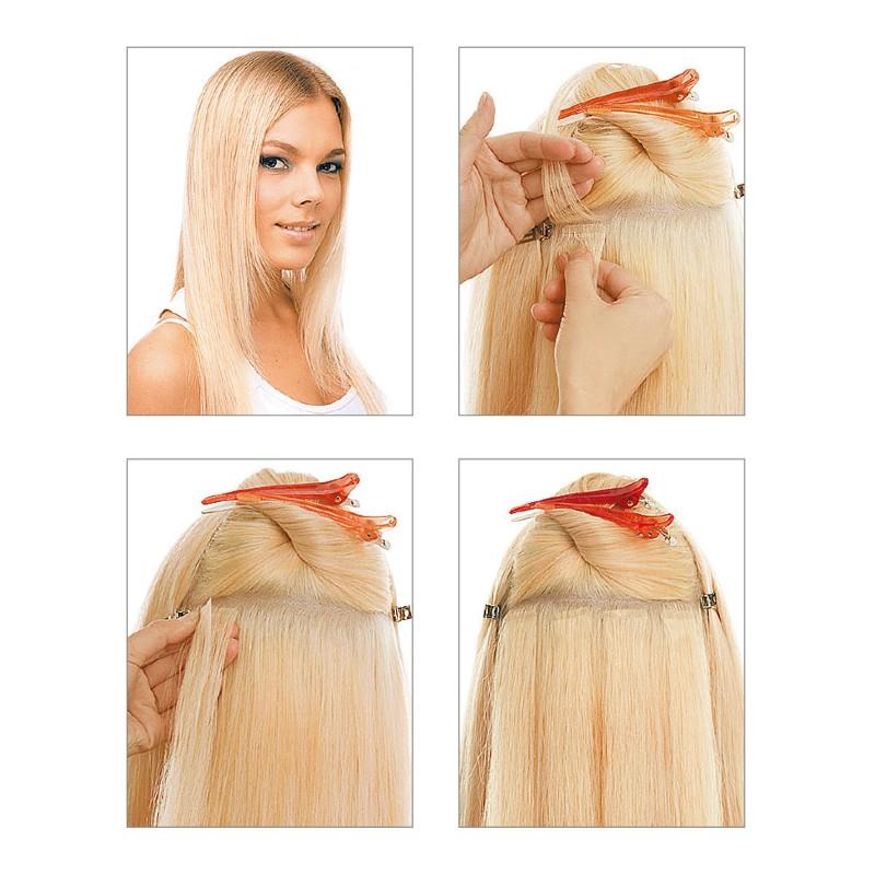 extension cheveux bande adhesive lisse blond clair dore cendre extension tape. Black Bedroom Furniture Sets. Home Design Ideas