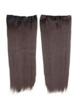 Extension cheveux mono bande Lisse Chatain foncé - Fibre professionnelle