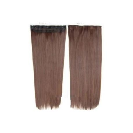 Extension cheveux mono bande Lisse Chatain clair doré - Fibre professionnelle