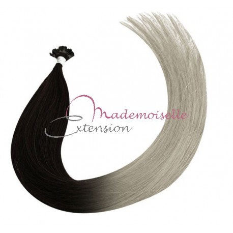 Extension Cheveux Keratine Naturel Remy Hair Ombre Tie and Dye chatain